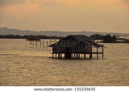 Landscape, blue lake in sunny summer day - stock photo