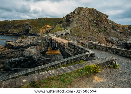 Landscape, bridge of the stronghold at the coast of crozon, brittany in france, Le fort des Capucins - stock photo