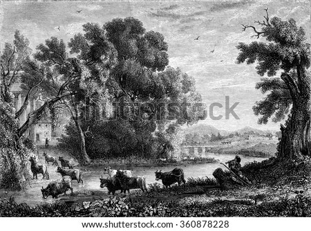 Landscape by Claude Lorrain, vintage engraved illustration. Magasin Pittoresque 1853.