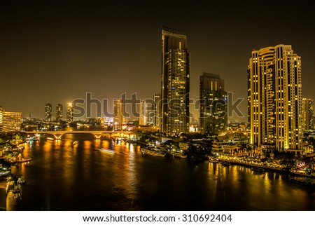 Landscape by the river at night. - stock photo