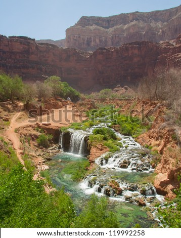 Landscape canyon view of the Havasu waterfalls area in the Grand Canyon in Arizona - stock photo