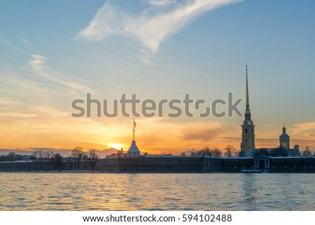 Landscape, city, Russia, St. Petersburg, river, bridge, sunset, navy, sun, sky, Peter-Pavel's Fortress
