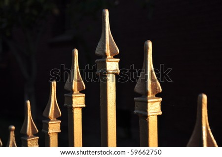 Landscape close up view of shiny gold fence tops against dark background. - stock photo