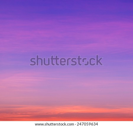 Landscape colorful sky at sunset