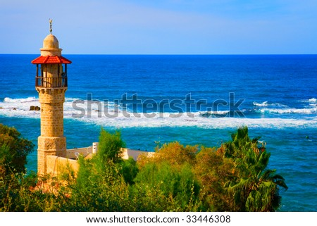 Landscape colorful view from Tel Aviv coastline, Israel - stock photo