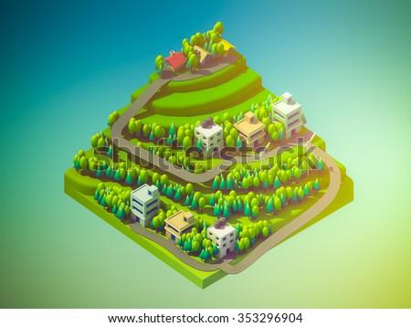 landscape concept isometric info graphic,showing data analytics, isometric info graphic background - stock photo