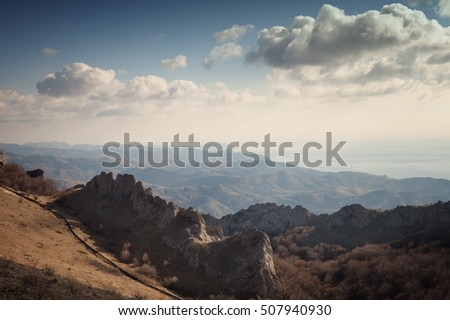 Landscape. Crimean mountains under the blue sky with clouds