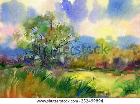 Landscape. Dawn. Watercolor. - stock photo