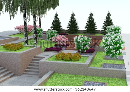 Landscape Design In D Isolated On A White Background