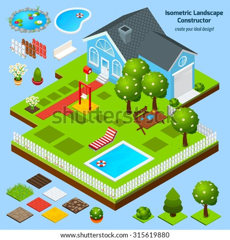 Landscape design isometric constructor with house garden and lawn architecture elements  illustration - stock photo