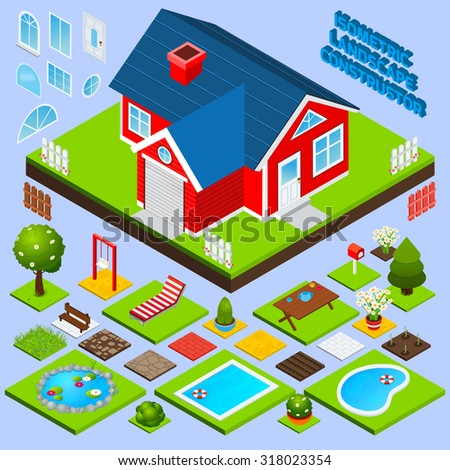 Landscape design isometric with building elements swimming pool trees and flowers  illustration - stock photo