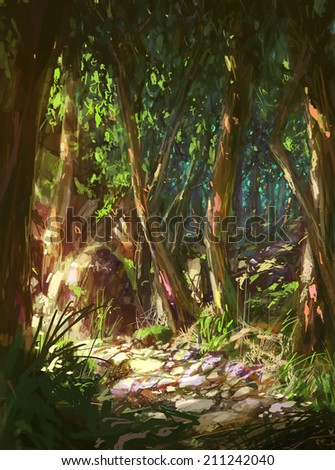 Landscape digital painting.nature's path - stock photo