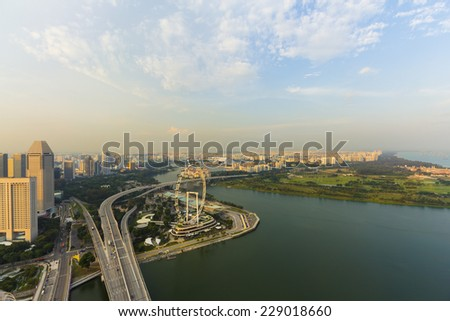 Landscape downtown in singapore - stock photo