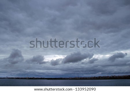 landscape dramatic sky before storm - stock photo