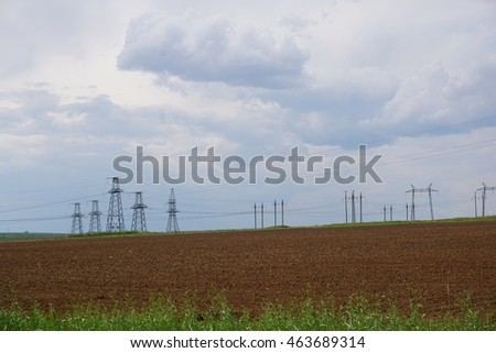 Landscape. Field. Ground. Electricity. Engineering
