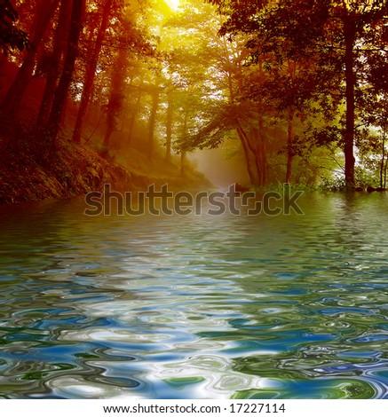 landscape fog - stock photo