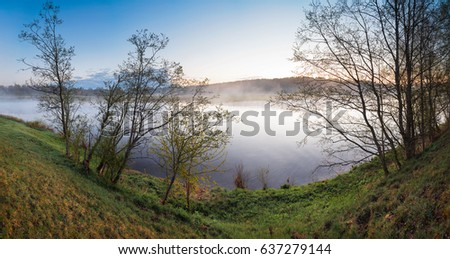 Landscape foggy morning on the river summer spring panorama