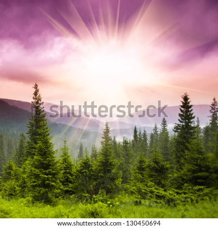 Landscape - for over mountains on the sunset - stock photo