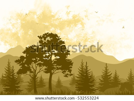 Landscape, Forest and Mountains with Trees and Grass, Birds in the Sky, Brown Silhouettes on Hand-Draw Watercolor Painting Background