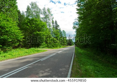 Landscape - forest road in summer time - North - Eastern part of Poland (Knyszynska Forest), primary forest