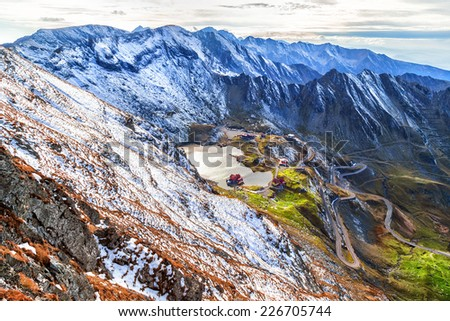 Landscape from Balea Lake, Mountain road, Romanian Carpathians, Transfagarasan - stock photo