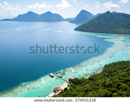 landscape from bohey dulang hill - stock photo