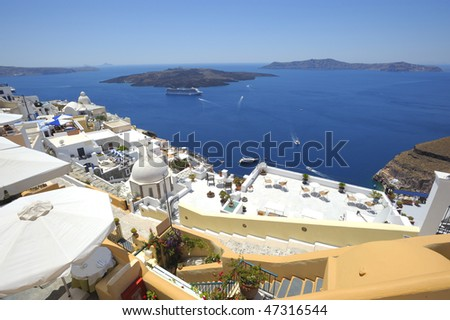 landscape from Fira town of Santorini