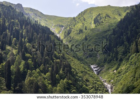 Landscape from northern Turkey's plateau in Rize - stock photo