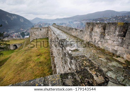 Landscape from protective walls of the historical fortress in the city Jajce in Bosnia and Herzegovina.  - stock photo