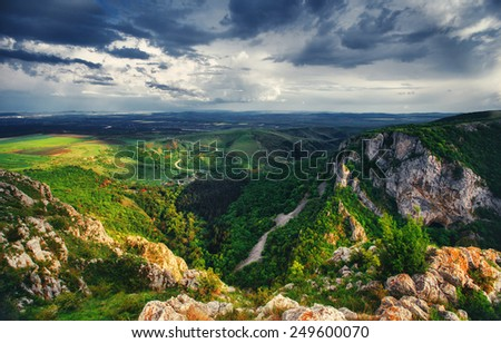 Landscape from the mountains in Romania in the summer
