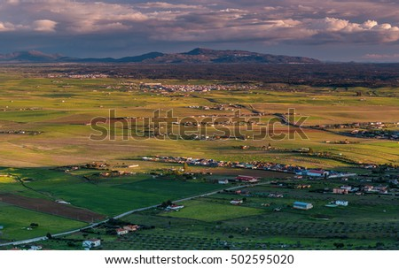 Landscape from the Risco. Sierra de Fuentes. Extremadura. Spain.