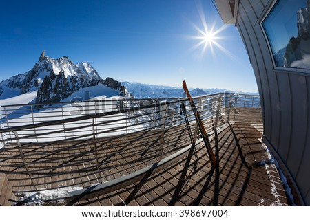 Landscape from the upper station (3466 mt) of the Skyway cable-car. Panorama over Mont Blanc glaciers. Winter sunny day. Courmayer, Italian Alps, Europe. - stock photo