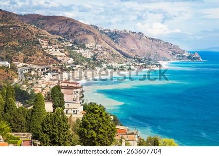 Landscape from village of Taormina, Sicily. Italy. - stock photo
