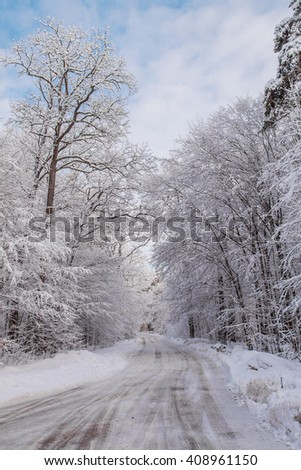 Landscape.frozen snowy road, trees in the morning before the storm. - stock photo