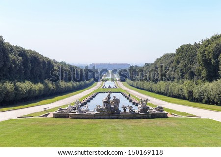landscape gardens fountain statues Royal Palace of Caserta - stock photo