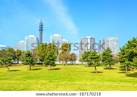 Landscape grass prospects the Yokohama City buildings of landmark in Japan. - stock photo