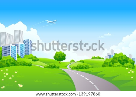 Landscape - green hills with tree cityscape cloudscape and airplane - stock photo