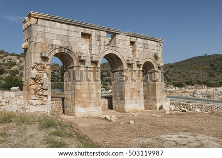 Landscape image of Patara ruins on the turquoise coast of the mediterranean sea, birthplace of St Nicholas