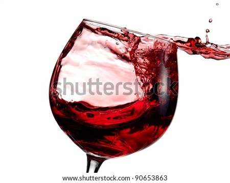 Landscape in a red wine glass
