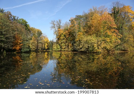 Landscape in autumn with colorful leaves, trees and a lake