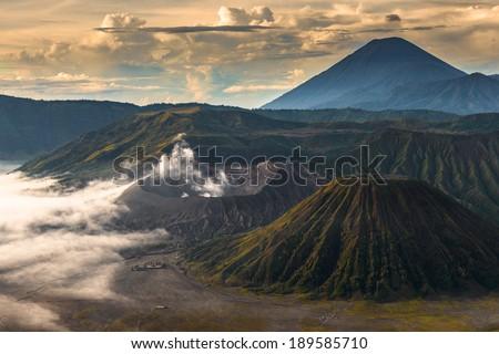 Landscape in Bromo Tengger Semeru National Park, Indonesia - stock photo