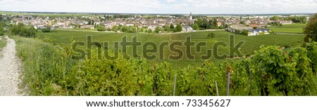 landscape in burgundy in france with village - stock photo