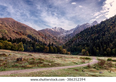 landscape in Caucasus mountains in summer