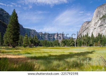 Landscape in central valley of Yosemite National Park