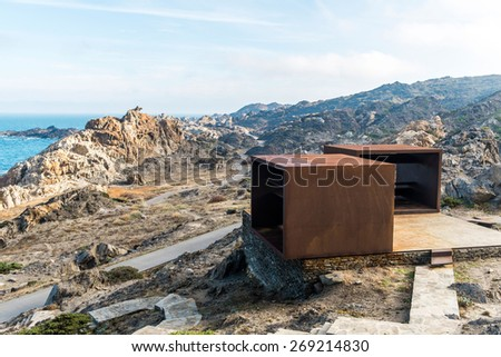 Landscape in Creus Cape with viewpoint in Mediterranean coast. Spain - stock photo
