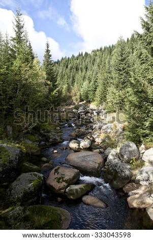 Landscape in Czech mountains Jizerske hory in the autumn - stock photo