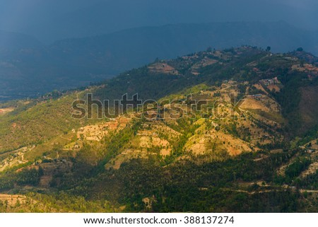Landscape in Dhulikhel district in the Kathmandu valley, Nepal