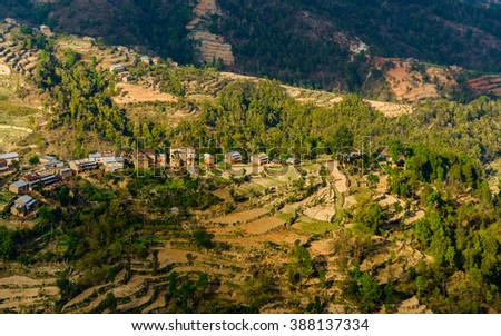 Landscape in Dhulikhel district in the Kathmandu valley, Nepal - stock photo
