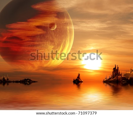 Landscape in fantasy planet - stock photo