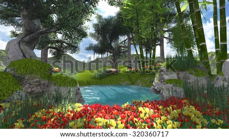 landscape in forest flowers and pool render illustrations